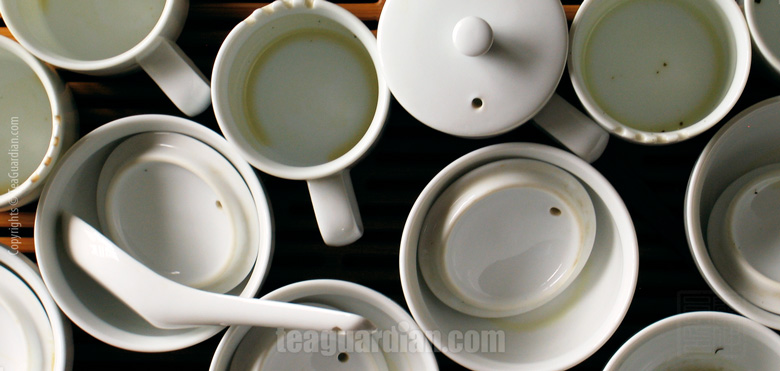 Emptied tasters' mugs during a tasting session