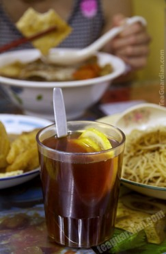 Lemon tea in noodle shop
