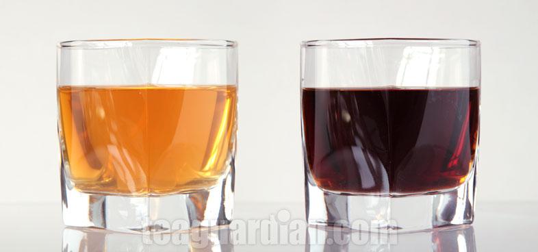 Tea Infusion Colour, Shengcha Pu'er vs Shu Cha Pu'er