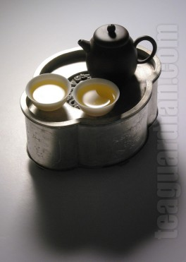 Gongfu teaset with a small Yixing teapot
